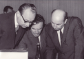 Dubček, Bilak and Černík before the session of the general assembly of the Central Committee of the Communist Party, 19 July 1968